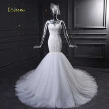 Loverxu Mermaid Wedding Dress Backless Detachable Train