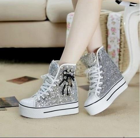 Paillettes chaussures de toile Femmes 2019 sac kelly Diamant Laçage-up chaussures décontractées High Top Sneakers Femmes