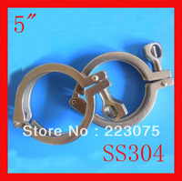 Free shipping 5 Single SS304 sanitary Triclamp stainless steel Heavy Duty Clamp for ferrule Wing Nut