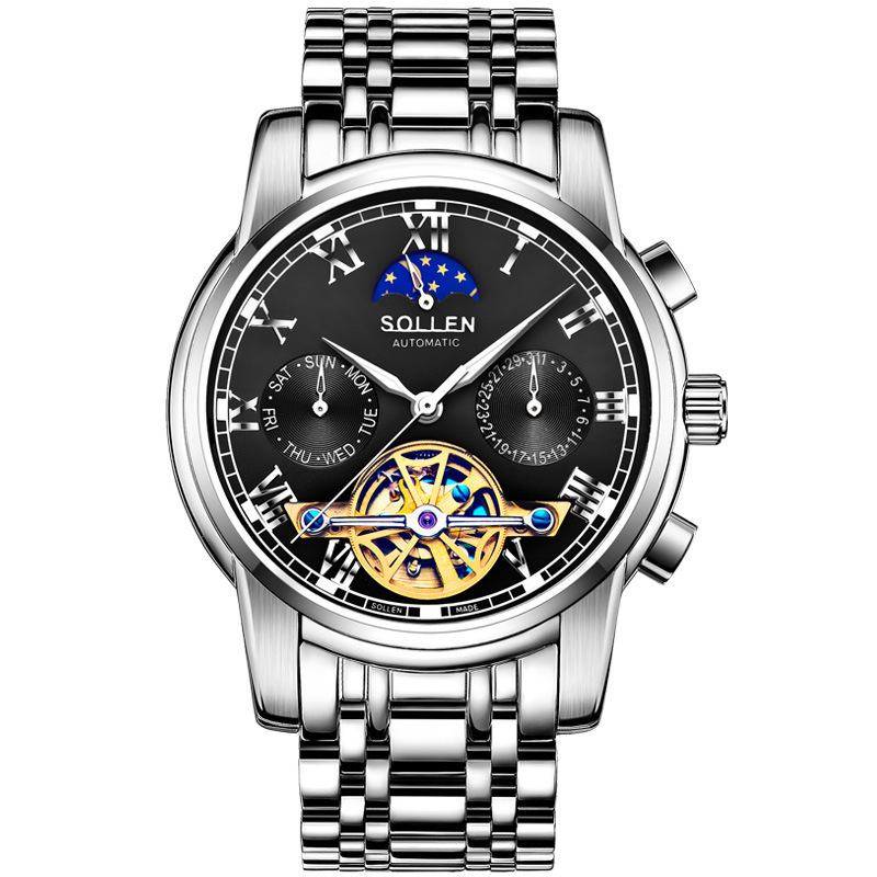 men's watches brand luxury blue Tourbillon automatic mechanical watch men waterproof week calendar luminous clock zegarki meskie