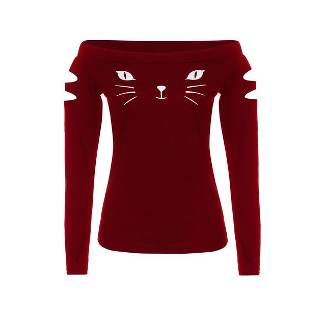 Cold Shoulder Womens T Shirt Cat Tops