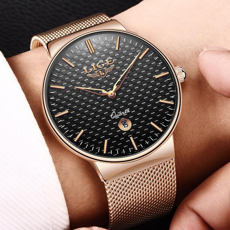 gave Ny LIGE cool Minimalistisk stil armbåndsur Rustfrit stål - Mænds ure - Foto 4