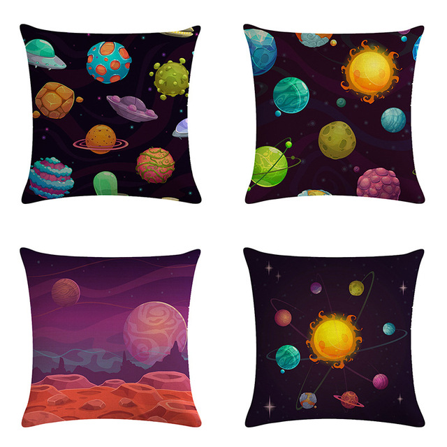 Mysterious Universe Vast Outer Space Beautiful Planets Fantasy Galaxy Dream Stars Cushion Cover Decor Sofa Throw Pillow Case