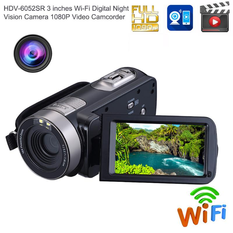 1080P Full HD 16X Zoom WiFi Digital Camera Infrared IR Night Vision 5MP Video Camera Camcorder 3 LCD Touch Screen Wireless DV