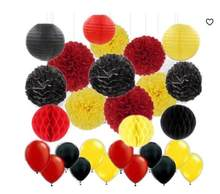 45pcs Mickey Mouse Color Party Supplies Yellow Black Red Tissue Paper Pom Poms Lanterns Paper Honeycomb Balls Balloons(China)