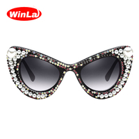 Winla Fashion Design Cat Eye Sun Glasses Women Sunglasses Rhinestone Printed Luxury Shades Gradient Lens Eyewear