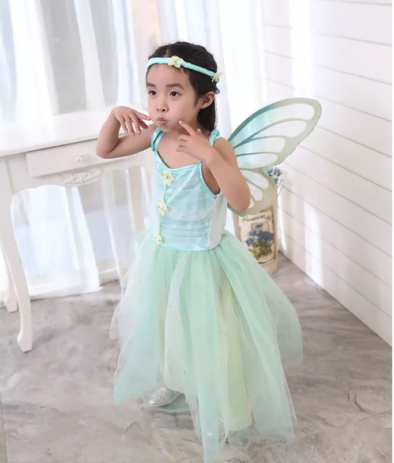 Child Girls Tink Butterfly Insect Costume Long Tutu Dress With Wings Set Forest Elf Cosplay Performance Clothing For Little Kids