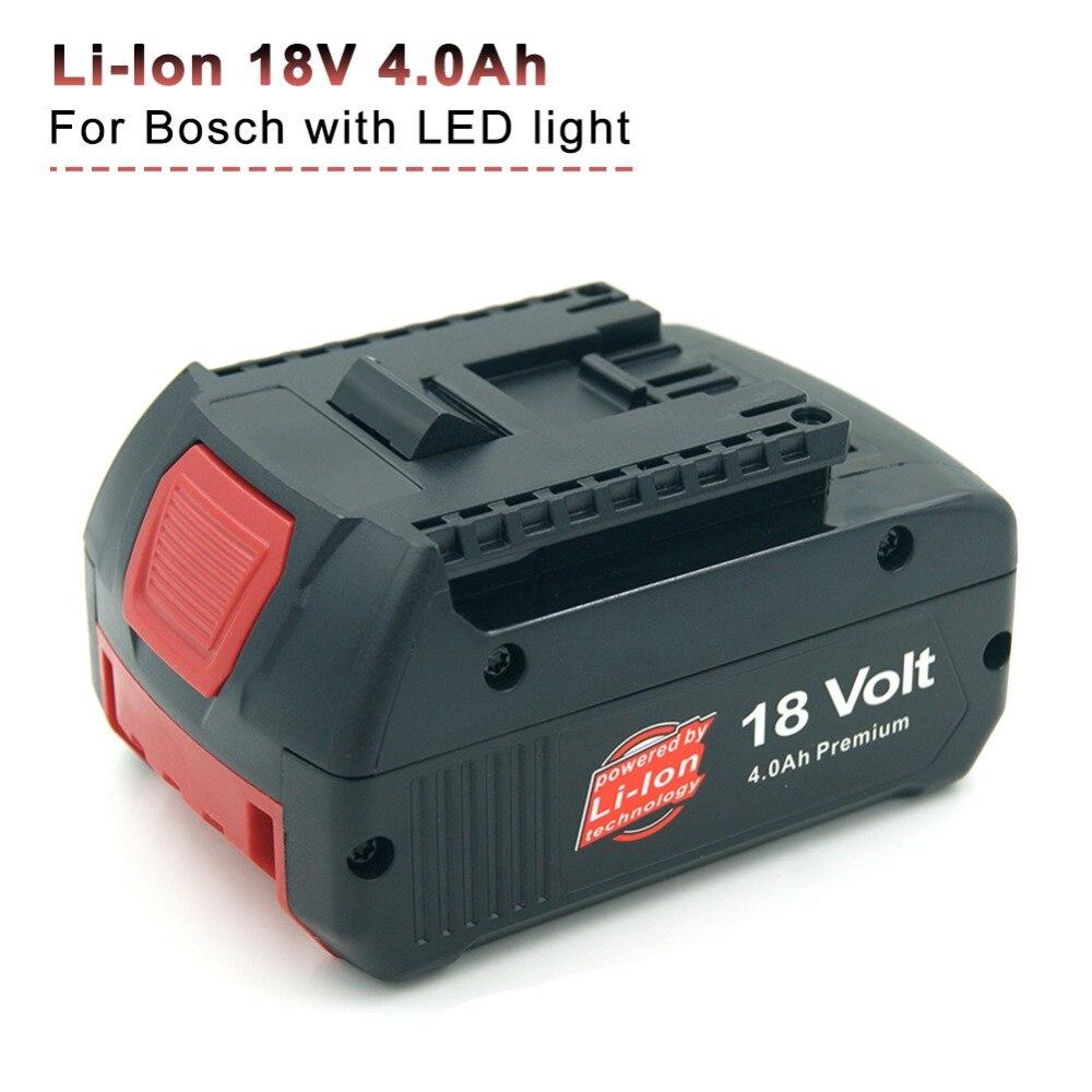 18-volts Au Lithium-Ion 4.0 AH Batterie De Remplacement avec Numérique Jauge de Carburant pour Bosch BAT609G BAT618 BAT620 3601H61S10 2607336170