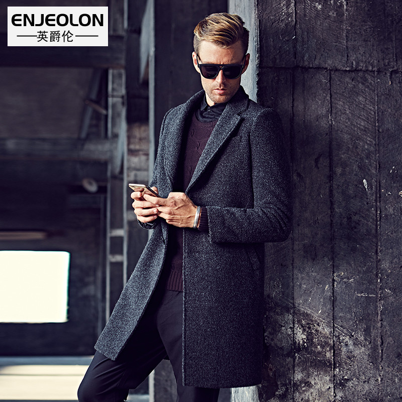 Enjeolon brand Men's casual X-Long Wool Blends Male Single Breasted woolen coats outwear Windbreaker free ship WT0817