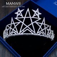 Korean New Bride Headdress Star Crown Earrings Hair Studio Wedding Dress Simple Atmospheric Zircon Jewelry HA20075