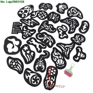 Image 2 - 25PCS Hair Tattoo Template Hair Trimmer Carved Coloring Cool Hairstyling Tool
