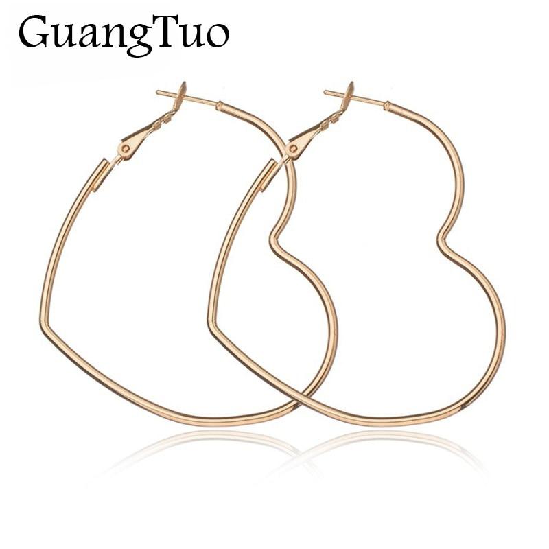 EK2095 New Cute Hollow Big Heart Hoop Earrings For Women Gold Silver Color Copper Simple LOVE Trendy Romantic Jewelry Nice Gifts