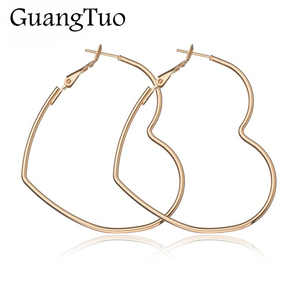 EK2095 New Cute Hollow Big Heart Hoop Earrings For Women Gold Silver Color Copper Simple LOVE Trendy Romantic Jewelry Nice Gifts(China)