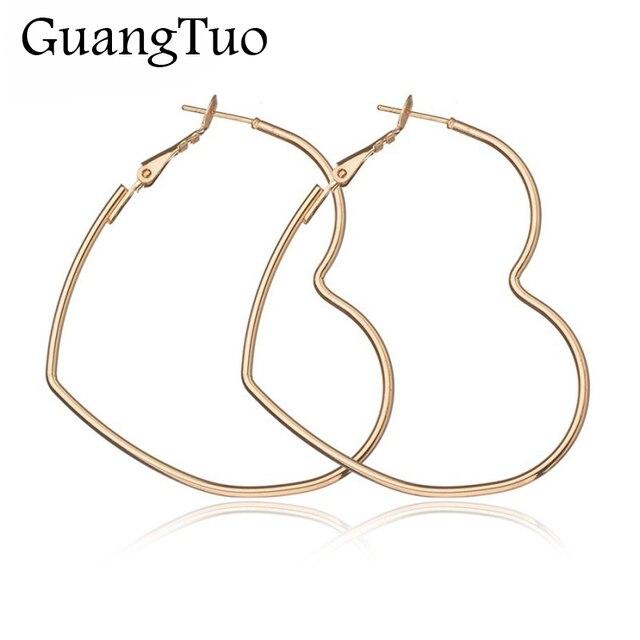 EK2095 New Cute Hollow Big Heart Hoop Earrings For Women Gold Silver Color Coppe