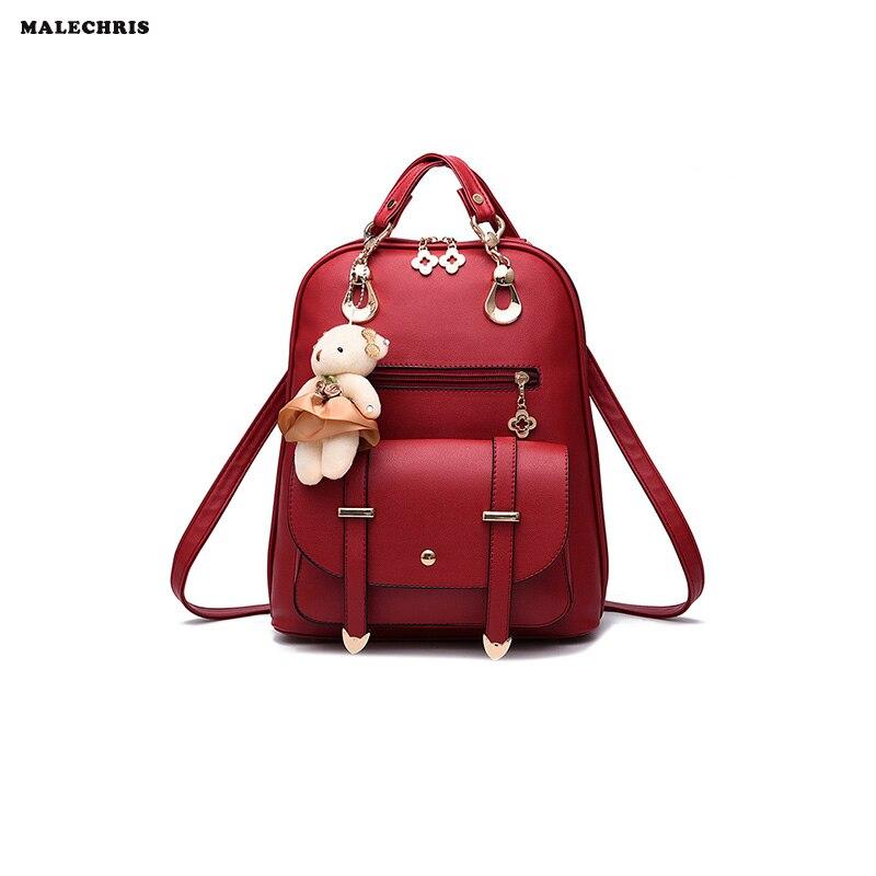 Women 's  Backpack Student  Fashion Bag Casual Bag  PU Female Package Send Plush Bear 2016 fashion women s backpack beige