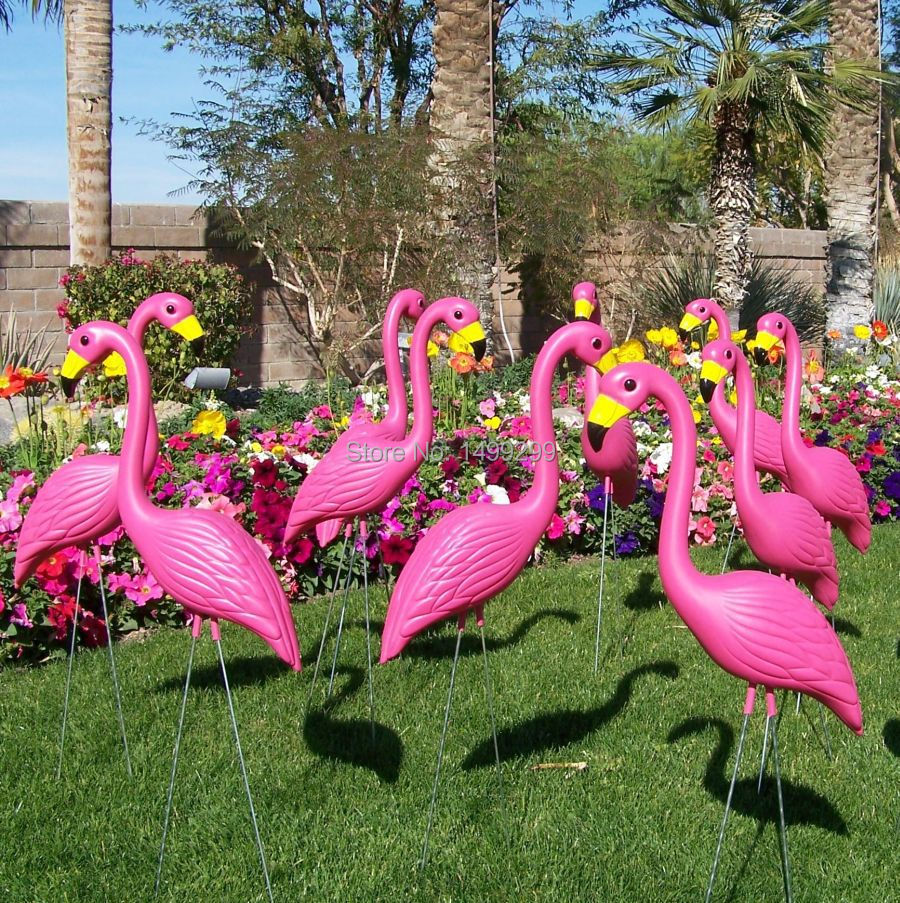 16 plastic bight pink premium flamingos garden yard and for Garden decking ornaments