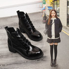 Classic women's low heel Martin boots fashion bright leather slippery slip thick with lace high heels autumn and winter boots.