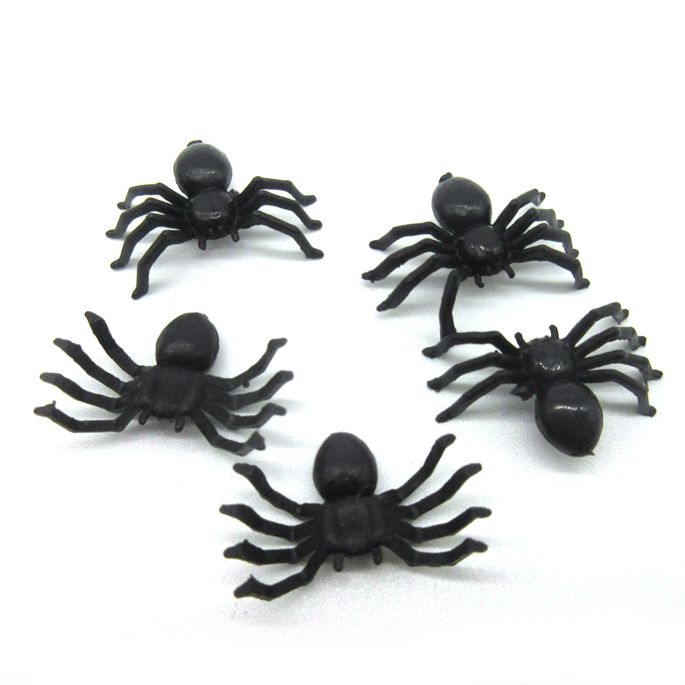 100pcs/set Simulation Halloween Party Spoof  Whole Person Small Toy Spider Simulation Horror Black Novelty Toys