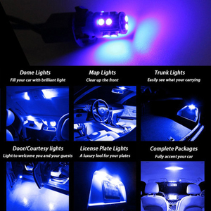Image 5 - 20 PCS Super Bright Blue 12V Led Blulbs For Cars Wedge 10 SMD Dome Map Cargo Interior Light Signal lamp Car Accessories