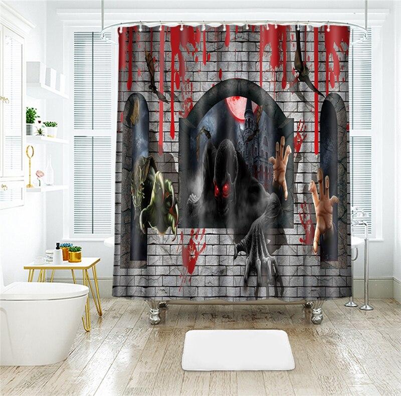 3D Halloween Horror game monster Waterproof Fabric Shower ...