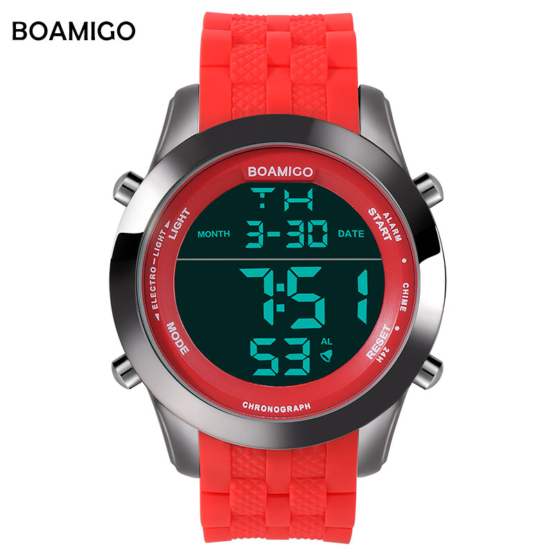093e08311e78 Relojes deportivos para hombre relojes digitales con pantalla LED de goma  reloj BOAMIGO marca de moda reloj rojo de 30 m relojes de pulsera  impermeables