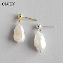OLOEY 100% Real 925 Sterling Silver Jewelry Baroque Irregular Pearl Drop Earrings for Women Aretes De Mujer Modernos 2018 YME432