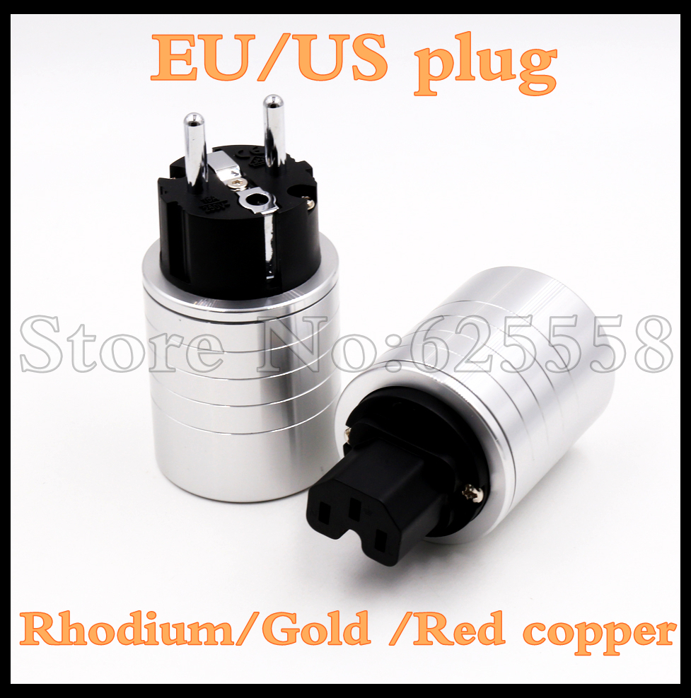 High quality  Hifi  aluminum 24K Gold / Rhodium/Red copper plated  IEC connector EU Schuko EUR power plug  extension adapter high quality customized 150 ohm 500w watt power aluminum metal shell case gold resistor
