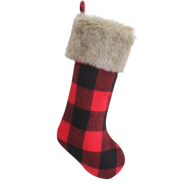 free shipping red with black plaid with faux fur cuff buffalo check christmas stocking p4611
