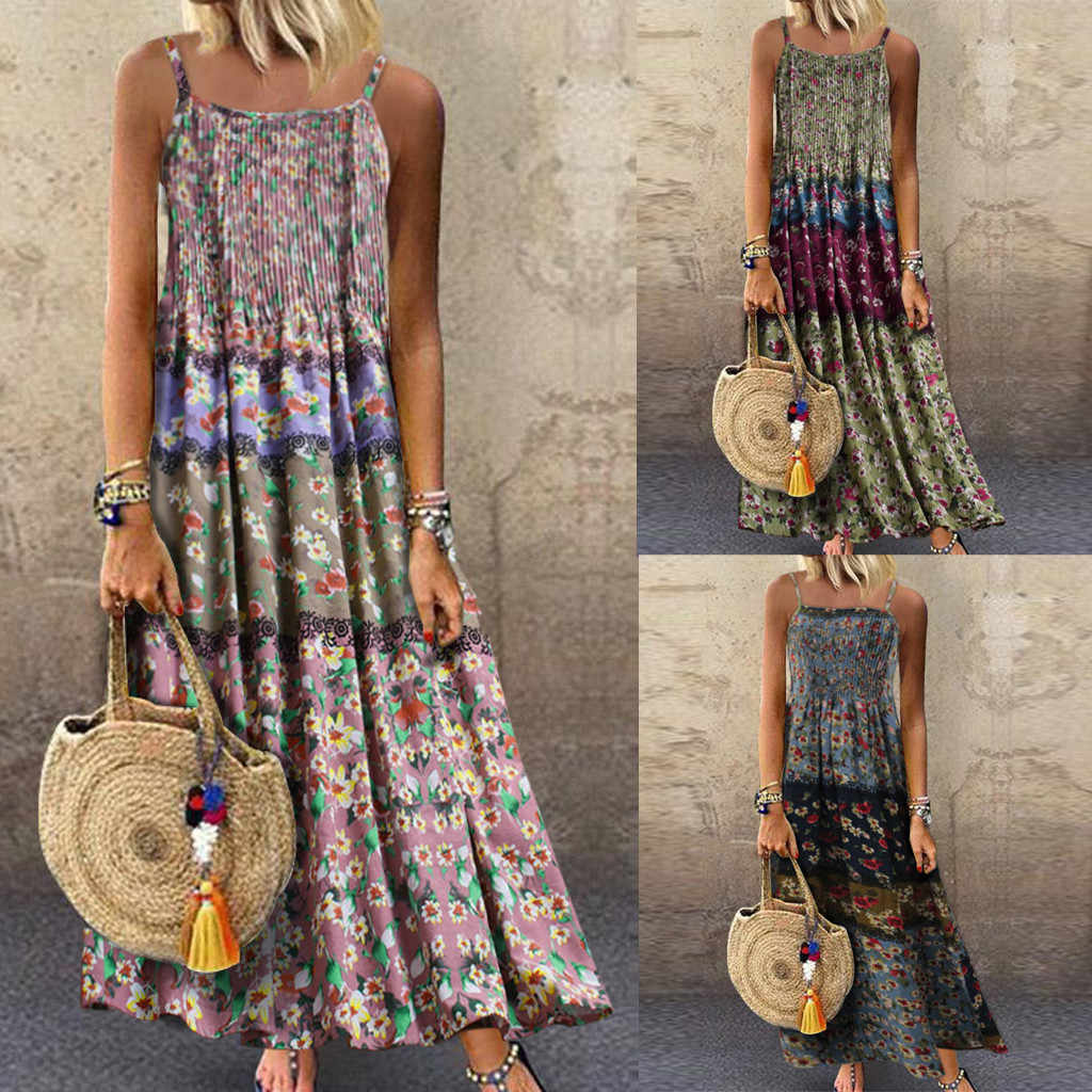 Women Dress Fashion Women Vintage Bohemian Print Floral Sleeveless O-Neck Straps Maxi Beach Dresses Lagre Size Loose Dress 39