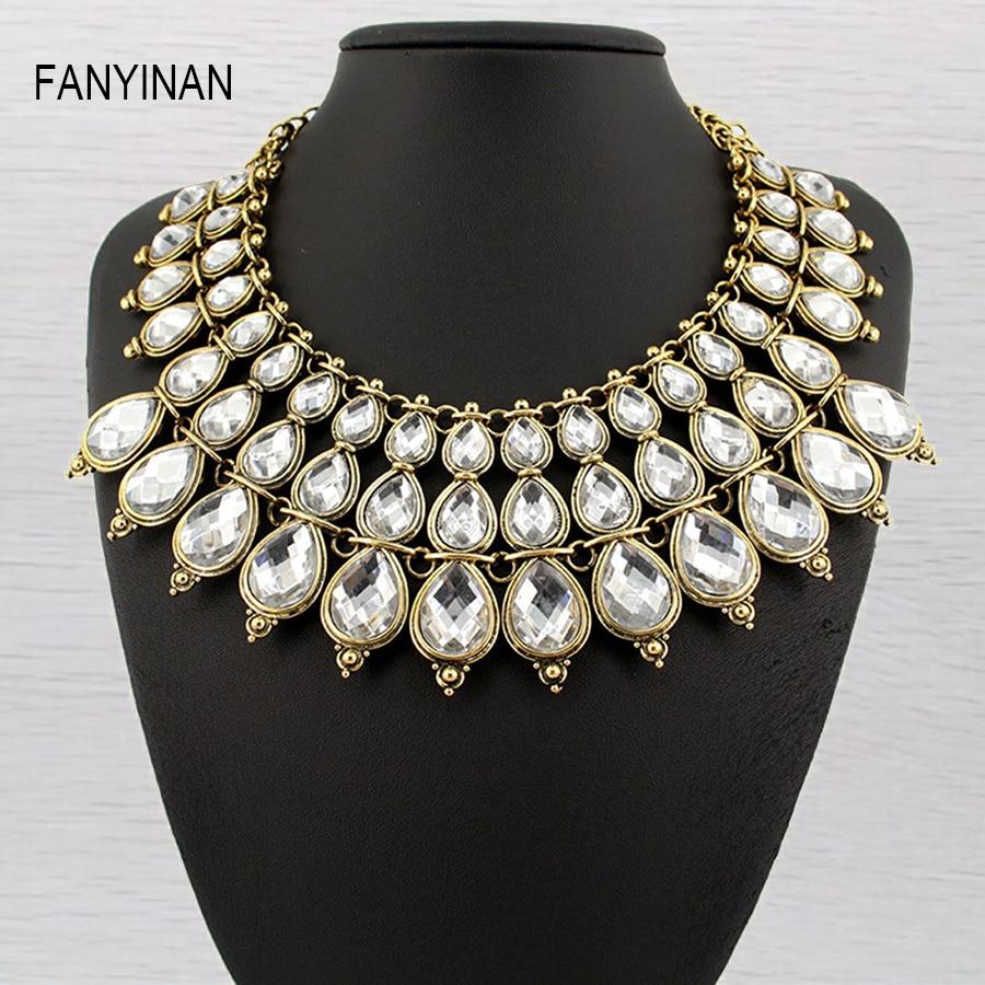 5b8ab1b8e86 Delicada joyería de moda collar de cristal Boho lujo oro plata plateada  collar y Colgantes gargantilla para las mujeres cadena
