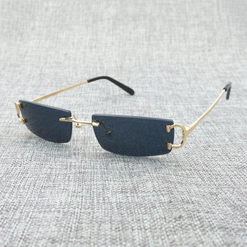 21f43b8f3 Pequenas Claras Óculos Mens óculos Sem Aro Da Forma do vintage Preto óculos  de Sol Oculos de Sol 2018 Tons para Homens Óculos de Armação de óculos de  Luxo