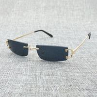 Vintage Small Clear Glasses Mens Fashion Rimless Black Sunglasses Oculos De Sol 2018 Shades for Men Luxury Eyewear Glasses Frame