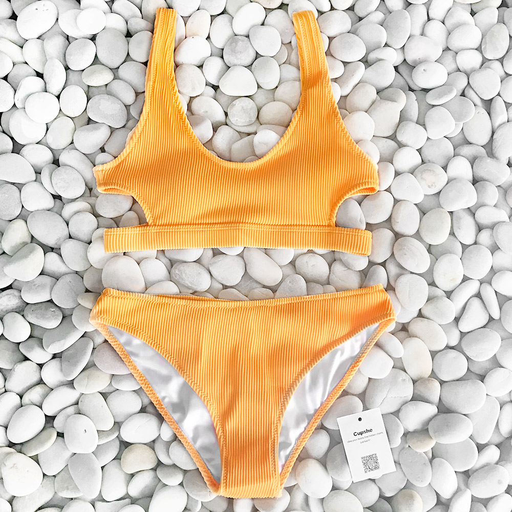 Cupshe Yellow Feather Yarn Solid Bikini Set Plain Hollow out Padded Two Pieces Swimwear 2020 Women Sexy Thong Swimsuits 3