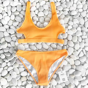 Image 4 - Cupshe Yellow Feather Yarn Solid Bikini Set Plain Hollow out Padded Two Pieces Swimwear 2020 Women Sexy Thong Swimsuits