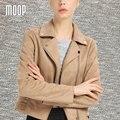 Cáqui vermelho camurça jaquetas de couro mulheres casaco de couro da motocicleta casacos jaqueta off-centro placket zip outwear croped feminino LT116