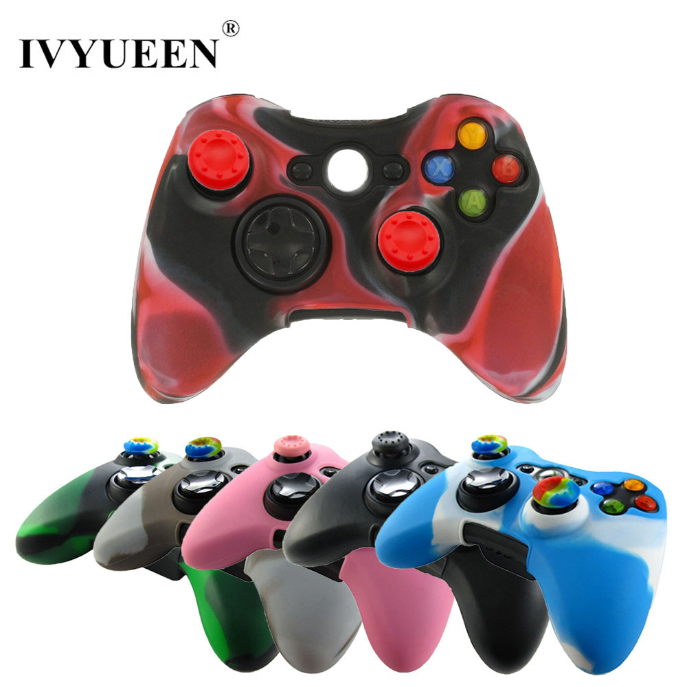 ivyueen 18 colors soft silicone protective skin case for microsoft xbox 360 wired wireless controller analog sticks caps cover [ 1000 x 1000 Pixel ]