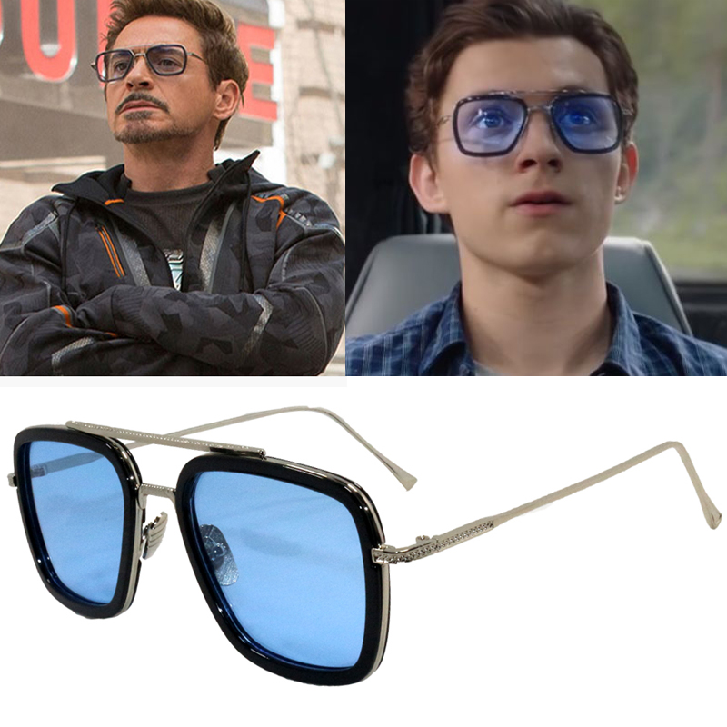 Sunglasses Men Square Avengers Iron Man Metal Tony Stark New-Fashion Male Punk
