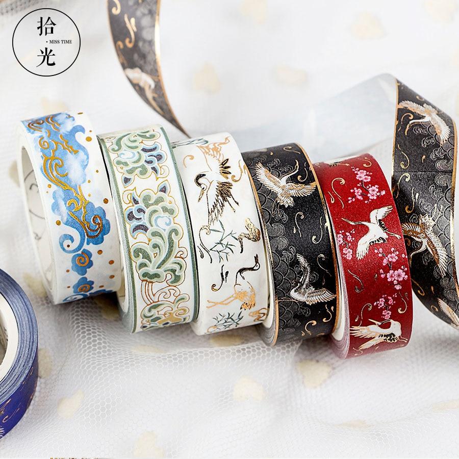 Brocade Series Bronzing Washi Paper Tape Handbook Album Diary DIY Decorative Stickers