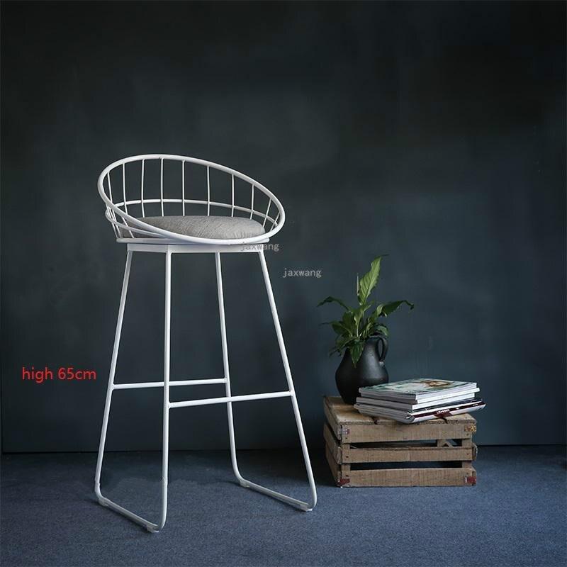 Современный простой барный стул из кованого железа, барный стул, золотой высокий стул, современный обеденный стул, железный стул для отдыха, скандинавский барный стул, трется - Цвет: Height 65CM
