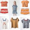 2017 летний стиль kikikids бобо выбирает коротким рукавом свободные полосы матрос коллор футболка vestidos