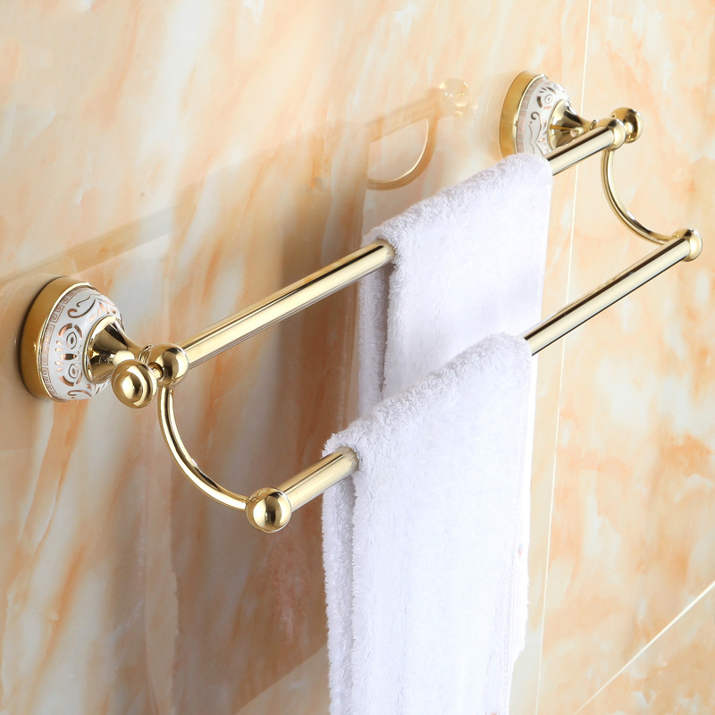 European Ceramic Base Polished Towel Bar Gold Plated Towel Rack Copper Double Layer Towel Shelf Mounting Bathroom Accessories Y5