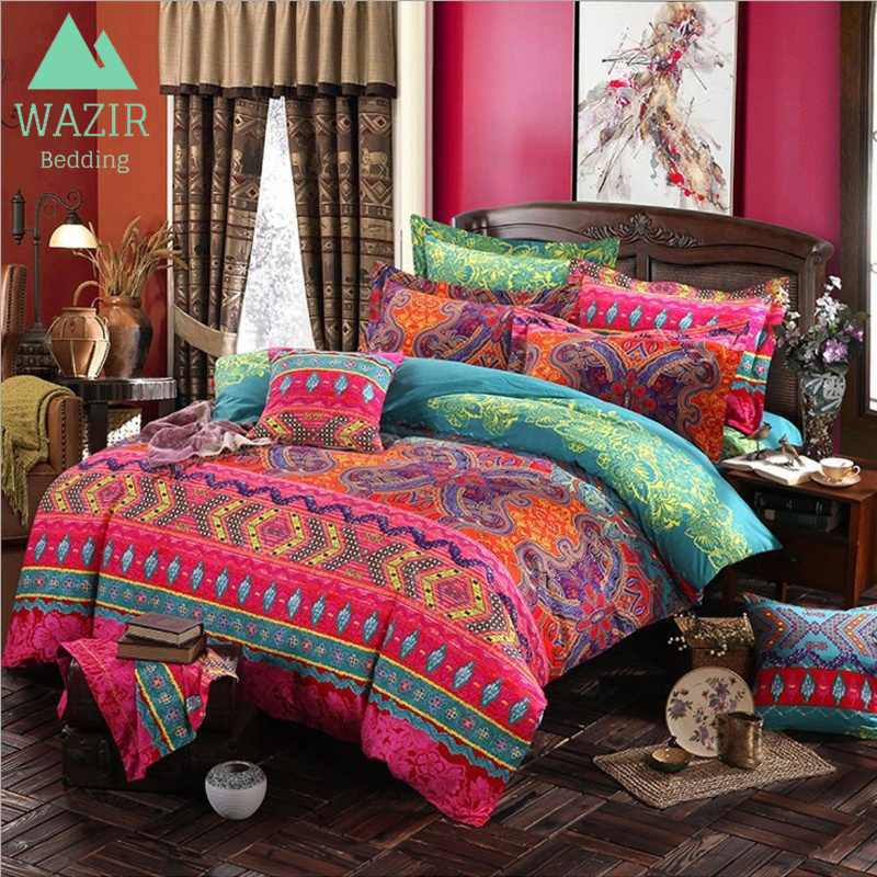 Edredon English.Wazir Edredon Bohemian Ethnic Style Bedding Set Twin Full Queen King Duvet Cover Pillowcase Bed Sheet Bedroom Decor Home Textile