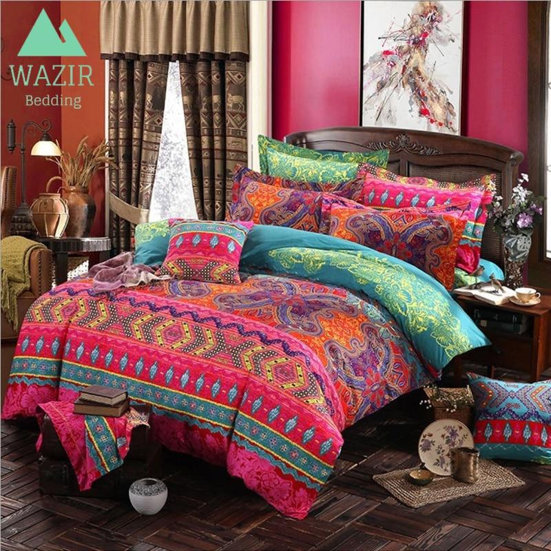 WAZIR edredon Bohemian Ethnic Style Bedding Set Twin Full Queen King Duvet Cover Pillowcase bed sheet bedroom decor Home Textile
