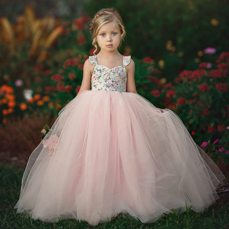1-7Y Kids Girl Luxury Lace Floral Princess Dresses Elegant Backless Little Girls Party Wedding Dress Vestido De Festa Infantil