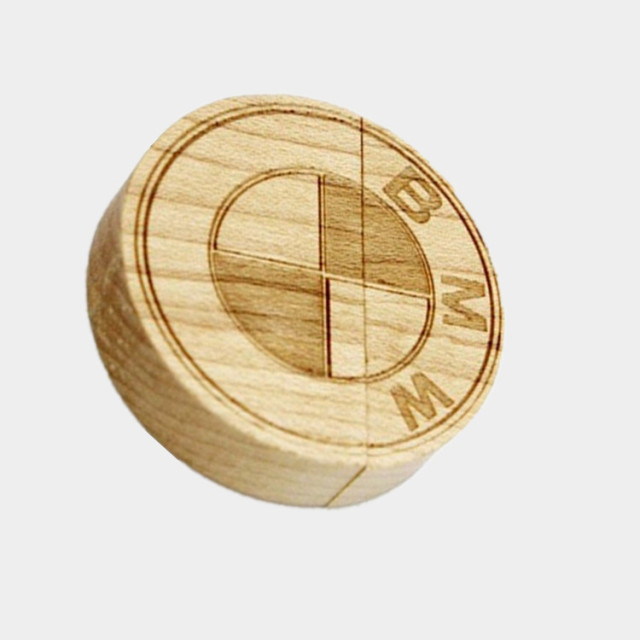 Wooden BMW Logo Usb Flash Drive