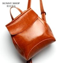 SUNNY SHOP Brand Designer Vintage Genuine Leather Women Backpack School Backpack For Girls Fashion Women Bags