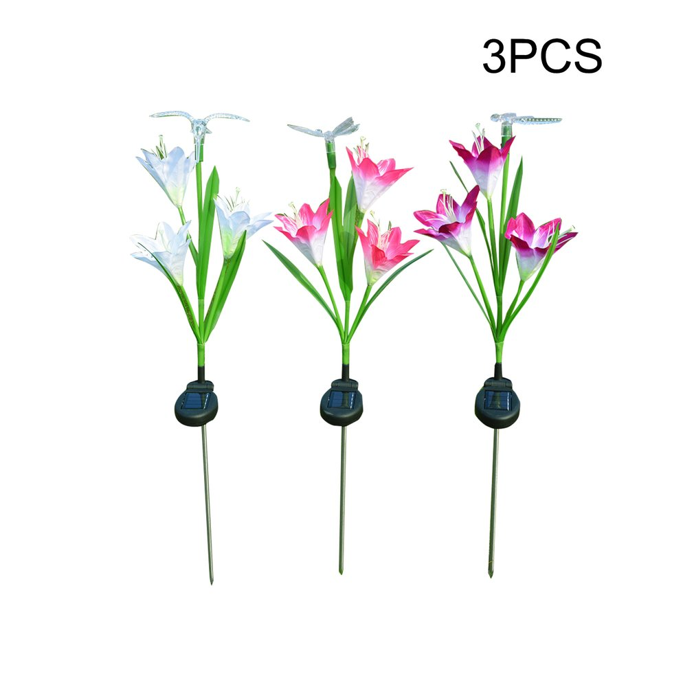 3Pcs Colorful Solar lawn light Lily Led Butterfly Hummingbird Lawn Lamp Combination Simulation Lily Sets