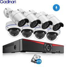 Gadinan 8CH POE 4MP אבטחת NVR סטי 4.0MP 1080P מצלמה אודיו קול CCTV מערכת כיפת כדור חיצוני מעקב ערכות 4TB HDD