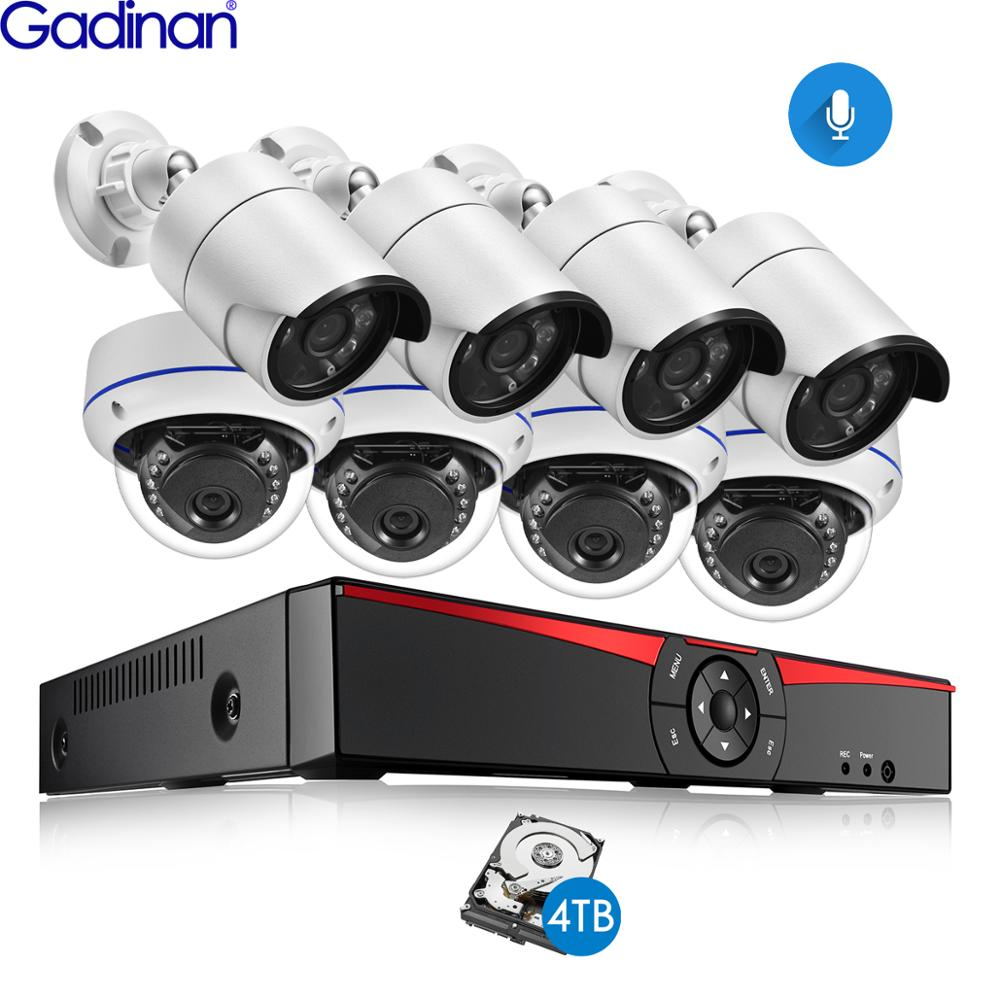 Gadinan 8CH POE 4MP Security NVR Sets 4.0MP 1080P Camera Audio Sound CCTV System Dome Bullet Outdoor Surveillance Kits 4TB HDD