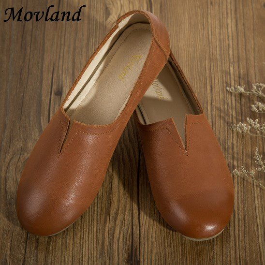 Movland-Genuine Leather pure handmade shoes, the retro art mori girl shoes,Women's casual shoes Flats shoes,#7024/ 3 colors genuine leather cover pure handmade card